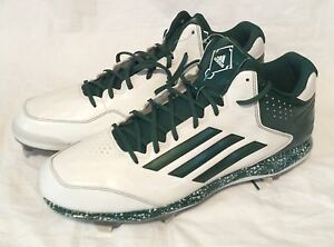 NEW Men's Size 15 ADIDAS GREEN & WHITE BASEBALL CLEATS Metal SPG 753001