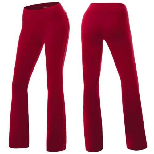Womens Plus Size Yoga Pants Flare Leg Fold Over Waist Bootcut Gym Workout Cotton