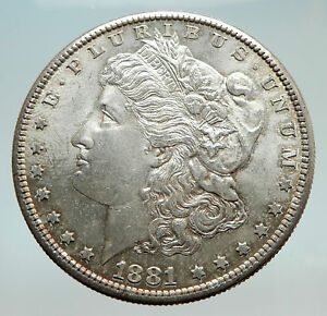 Details about 1881 UNITED STATES of America SILVER Morgan Antique US Dollar  Coin EAGLE i74513