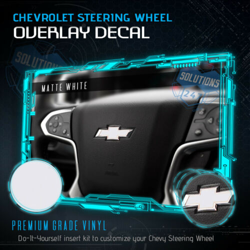 Flat Matte Steering Wheel Bowtie Pre-Cut Decal Overlay 2007-2014 Chevy Tahoe