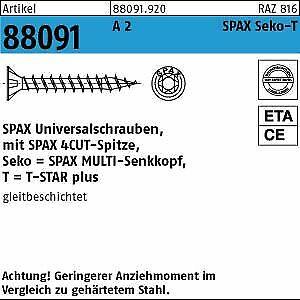 200 SPAX Edelstahl V2A Senkkopfschrauben A2 TX 4,5x30 //24 TORX