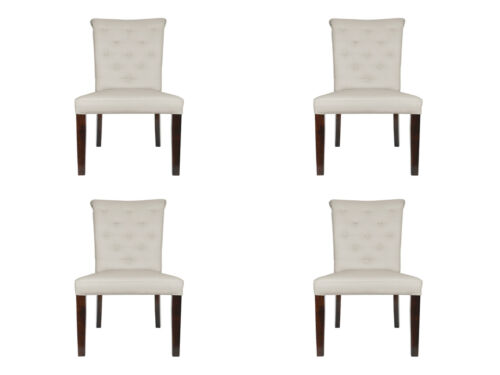 4x Chairs Set Armchair Lehn Design Pads Leather Textile Dinner Living Room Napo