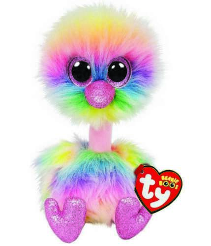OFFICIAL TY BEANIE BABIES BOOS ASHA PASTEL OSTRICH PLUSH SOFT TOY NEW WITH TAGS