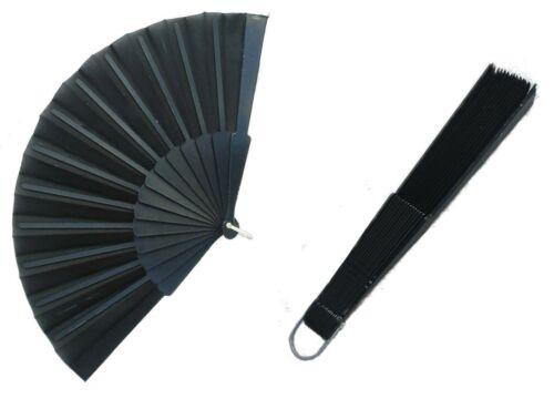 Fächer Stoff Handfächer Taschenfächer Schwarz 6 Stück Set