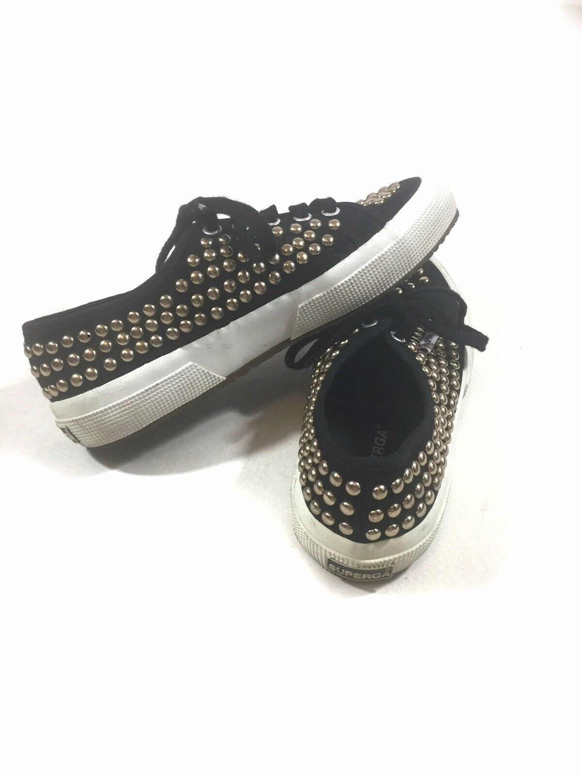 Superga Womens Size 37 (EU) 6.5 (US) Black Gold Studded Lace Up Sneakers