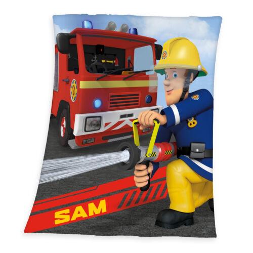 Feuerwehrmann Sam Fleecedecke blau rot Kuschel Decke 130 x 160 cm Kinder NEU