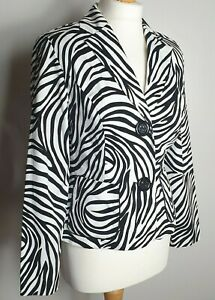 Joseph-Ribkoff-UK-Size-12-Animal-Print-Black-amp-White-Striped-Blazer-Jacket