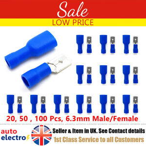 Female Fully Insulated Crimp Spade Connector Terminal Pairs Red 6.3mm Male