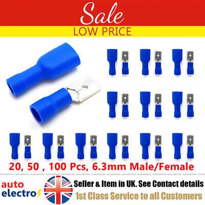 50 X Pares Azul 4.8mm Macho Hembra Completamente Aislado Pala Conector Crimp