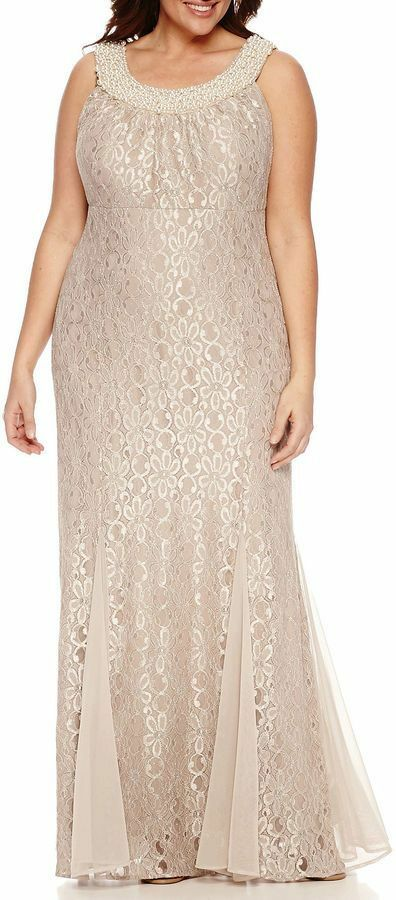 R & M Richards Sleeveless Beaded Lace Evening Gown-Plus Größe 22W  G224