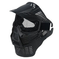 Halo Metal Mesh Mask Full Face Airsoft Paintball Gear Neck Guard No Fog Goggles