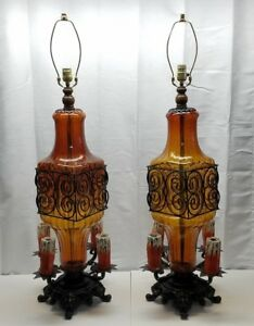 Pair-Vintage-Gothic-Murano-Art-Glass-Wrought-Iron-Lamps-Chalkware-Candle-Light