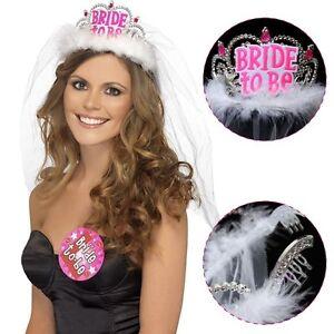 Image Is Loading Bride To Be Veil Bridesmaid Crown Tiaras Hen