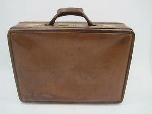 Details about VTG Hartmann Luggage Brown Leather Briefcase Suitcase Lock Travel Bag