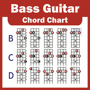 electric bass guitar chord chart 4 string new ebay