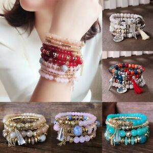 4Pcs-Boho-Multilayer-Natural-Stone-Crystal-Bangle-Beaded-Bracelet-Jewelry-Set