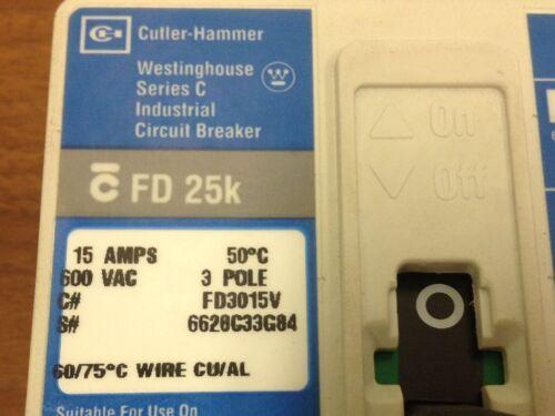 15 Amp Breaker Catalog # FD3015V Series C Westinghouse FD 25K