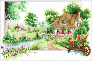 """Nouveau estampillée Cross Stitch Kit """"Cottage-Summer"""" 24 """"x15"""" Imprimé Maison Design  </span>"""