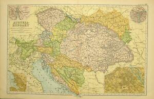 1909-ANTIQUE-MAP-AUSTRIA-HUNGARY-BOSNIA-VIENNA-BOHEMIA-MORAVIA-TYROL-TRIEST