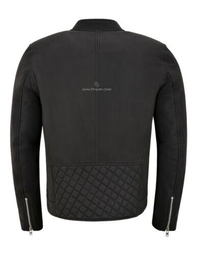 Men/'s Premium Veste en Cuir Mat Matelassé Noir panneaux Vrai Veste en cuir 5240