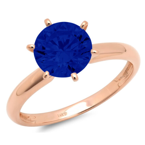 Details about  /0.50 ct Round Cut Blue Sapphire Stone Wedding Bridal Promise Ring 14k Rose gold