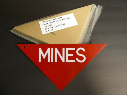 GENUINE METAL SIGN 1983 SURPLUS MINEFIELD WARNING ARMY WARNING MARKER MINE D3