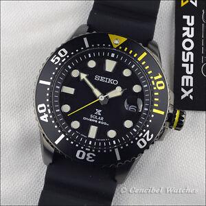 Seiko-SNE441P1-Prospex-Solar-Diver-039-s-200M-Black-PVD-SNE441-J1-Rubber-Strap