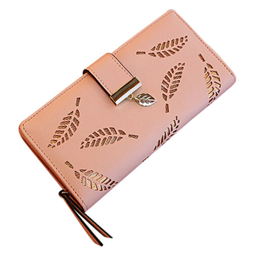 Women/'s PU Leather Leaf Hollow Lady Long Wallet Big Capacity Purse Bag Gift UK
