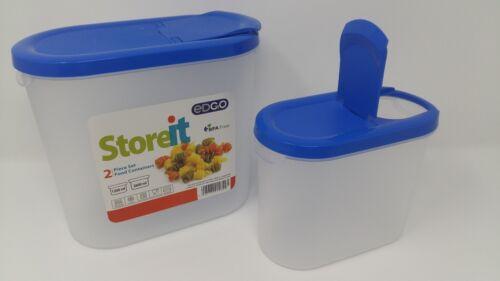 EDGO Storeit 2 Piece Set Food Storage Container 1200ml//2600ml Airtight Blue Red