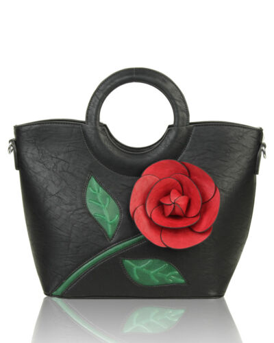 Women 3D Rose Print Large Top-Handle Shoulder Handbag Messenger Tote Shopper Bag