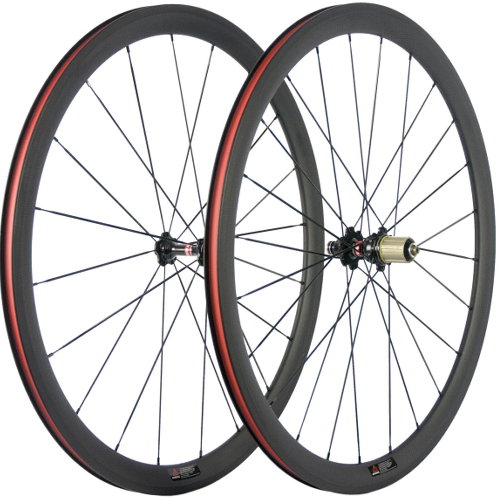 Carbon Wheelset Clincher Road Bike 38mm Carbon Wheels  3k Basalt Brake Surface  limit buy