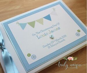 PINK-or-BLUE-BUNTING-Personalised-Christening-Baptism-Guest-Book-Photo-Album