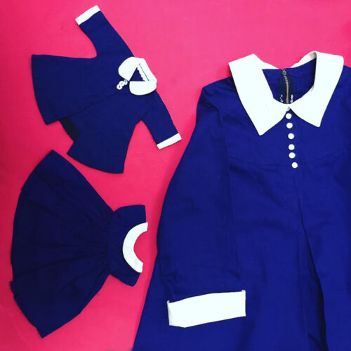 VTG Madeline doll dress set with matching Kids dress Rare! So great!