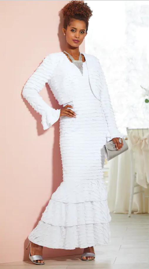 Size 8 Ashro White Formal Wedding Party Event Karlee Ruffled Jacket Dress