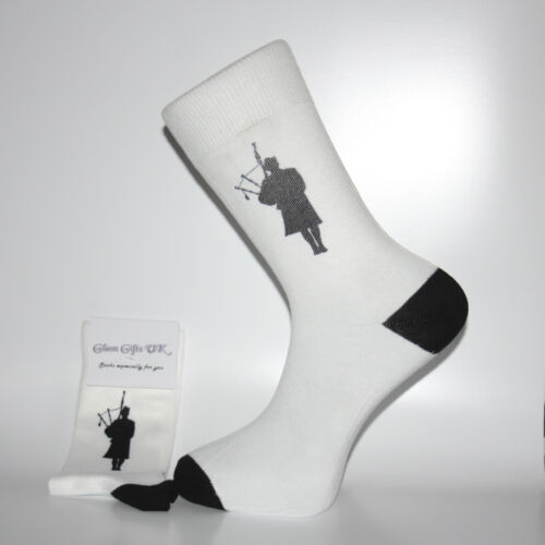 Lovely Birthday or Christmas Gift White Socks With a Silhouette Bagpiper