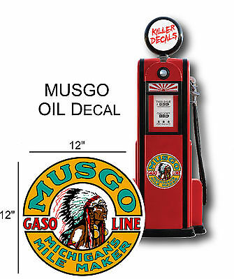 """12/"""" 1930-40 MUSGO GASOLINE DECAL FOR OIL CAN GAS PUMP  LUBSTER"""