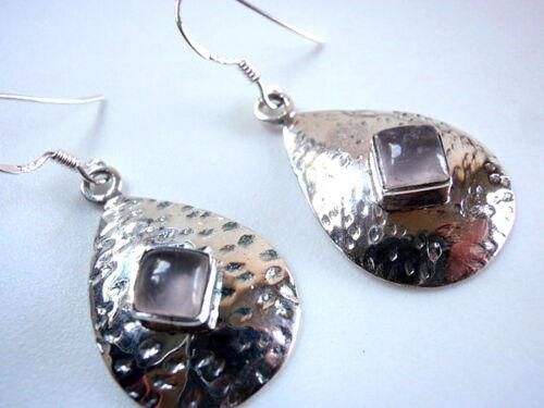 Rose Quartz Hammered Teardrop 925 Sterling Silver Dangle Drop Earrings Square