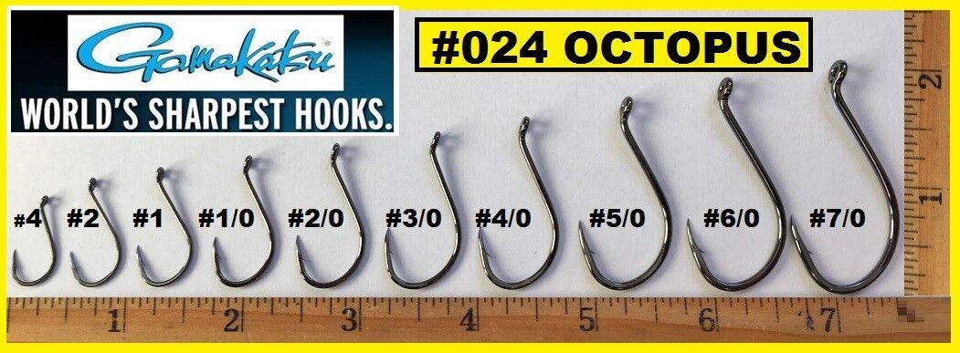 Gamakatsu 02409-100 Octopus Sz 2 NS Black 100 PK Fishing Hook for sale online