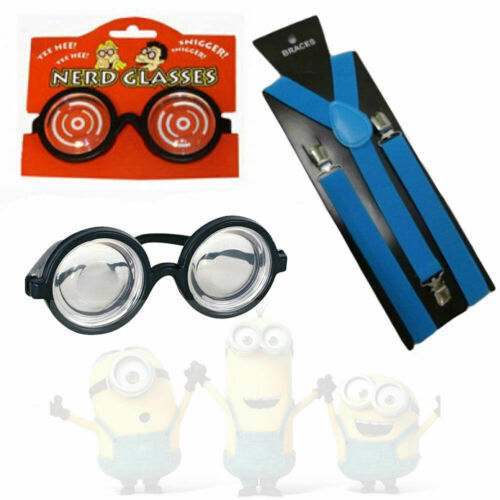 Kids Blue Despicable Me Minion Glasses Goggles Braces Fancy Dress World Book Day
