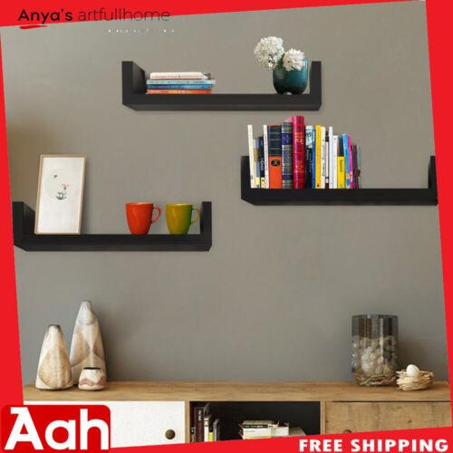 Set of 3 Floating Display Shelves Ledge Bookshelf Wall Mount Storage Home Black