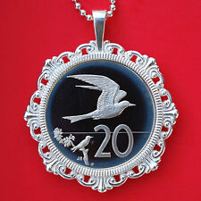 1975 Cook Islands 20 Cents Gem Proof Coin Sterling Silver Necklace - Fairy Tern