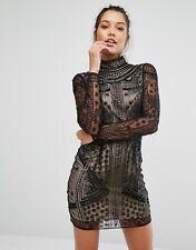 Missguided High Neck Mini Bodycon Evening Dress in Black UK 14/EU 42/US 10