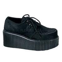 Demonia Creepers 202 Ladies Goth Punk Rockabilly Creeper Black Fur Suede Shoes