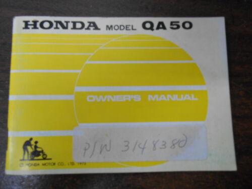 Vintage Honda Factory Owners Owner/'s Manual 1974 QA50 3148380