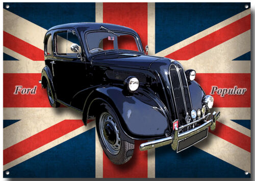 A3 SIZE VINTAGE FORD MOTOR CARS,CLASSIC MOTOR CARS. FORD POPULAR METAL SIGN.