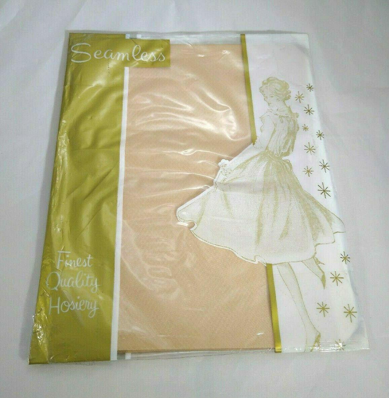 1 Pair of Vintage Suntan Hosiery Beauty Pak Seamless Short Unworn Vtg Stockings