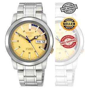 Seiko-5-Automatic-SNKK29-SNKK29K1-Men-Day-Date-Gold-Dial-Stainless-Steel-Watch