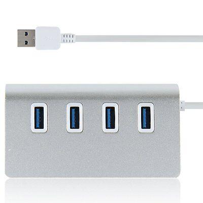 Aluminum 4 Port USB 3.0 HUB High Speed 5Gbps For PC Laptop Mac MacBook Pro New