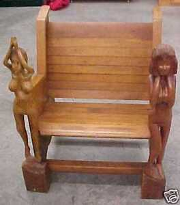 RARE-1-on-earth-Nude-Woman-Wooden-folk-art-chair-Bar