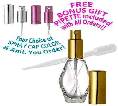 Glass Perfume Spray Bottle Refillable Diamond Atomizer Choose 1 Oz /2 Oz / .5 Oz